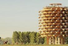 Башня с фасадом из «солнечных листьев» - новый проект от архитектурной студии NUDES