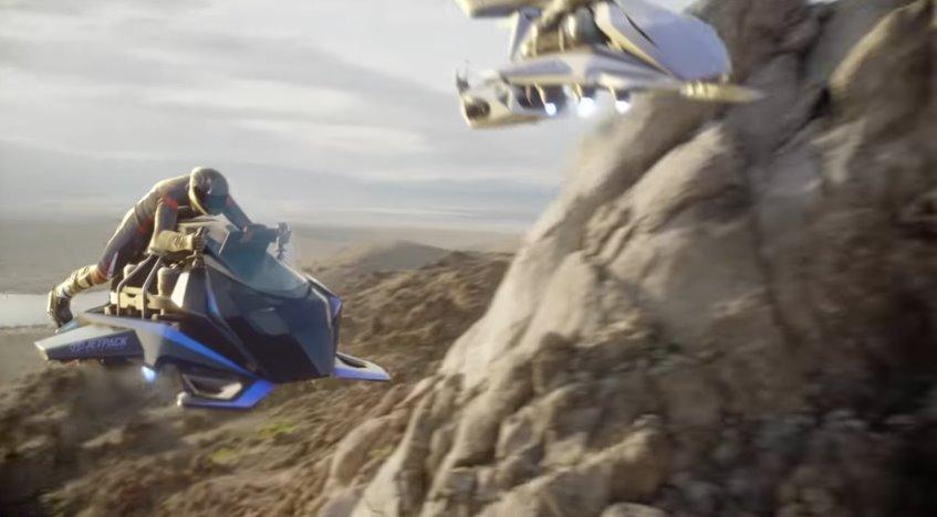 Летающий мотоцикл на реактивной тяге