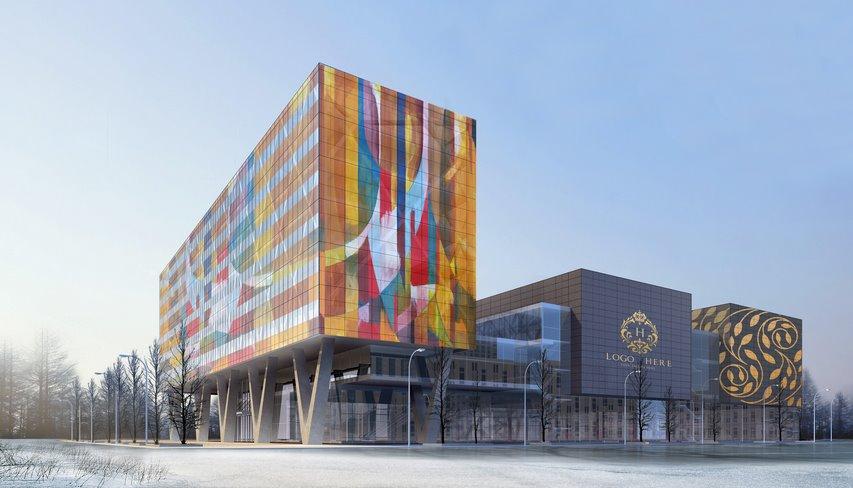 Фасад из цветных солнечных панелей