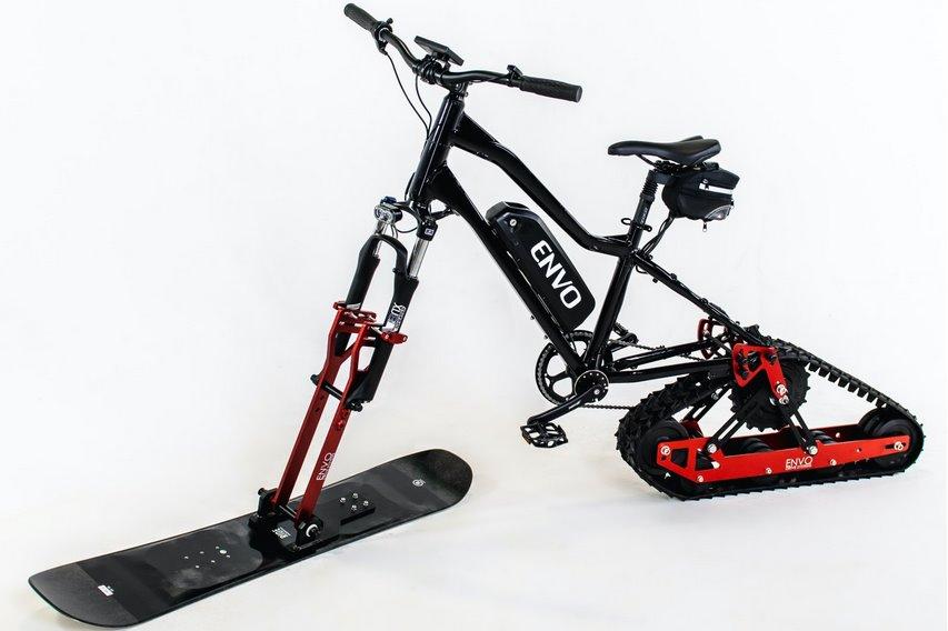 Превратить обычный велосипед в электроснегоход поможет Electric SnowBike Kit от Envo