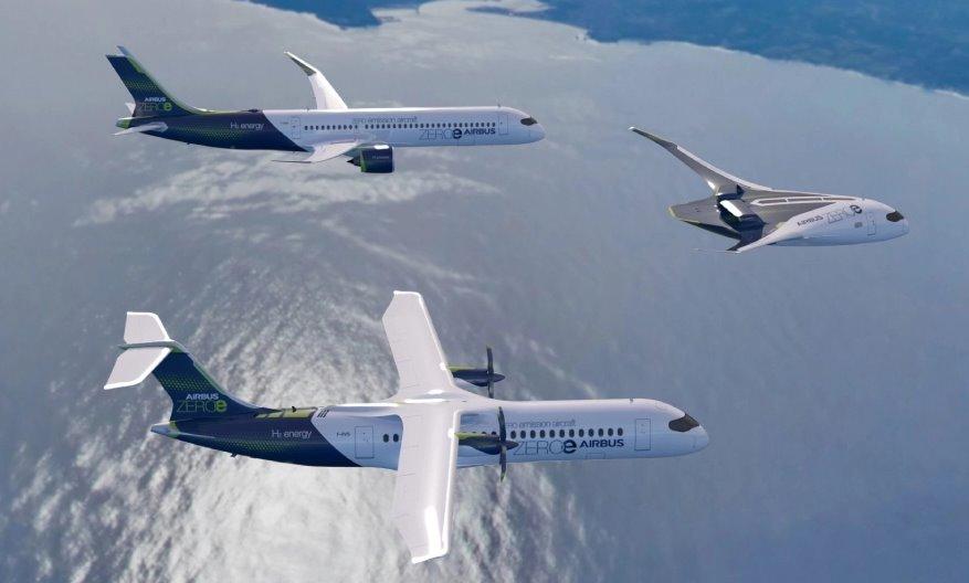 Airbus пассажирские самолеты на водороде  будущее авиации