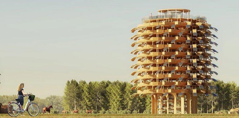 Башня с фасадом из солнечных листьев - новый проект от архитектурной студии NUDES
