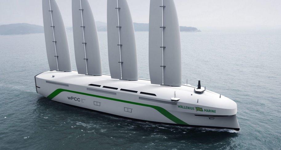 Грузовой эко-корабль с парусами из металла перевезет авто через Атлантику