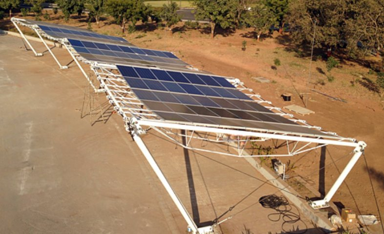 Солнечный навес из гибких солнечных батарей