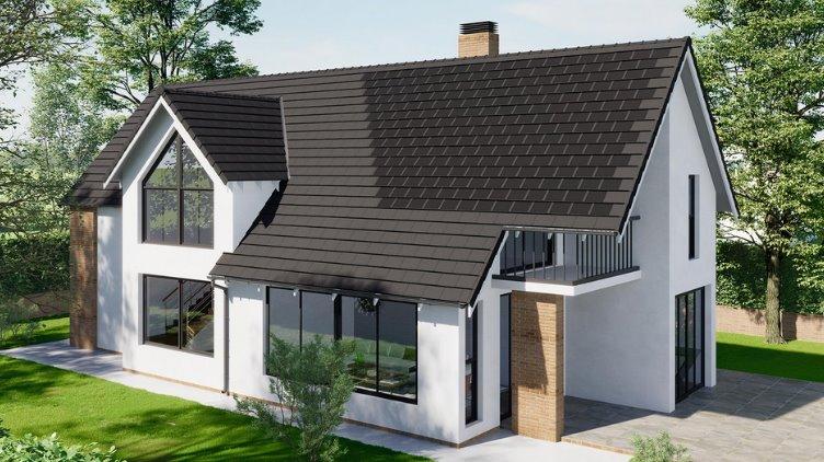 Солнечная крыша дома с фотоэлектрической черепицей