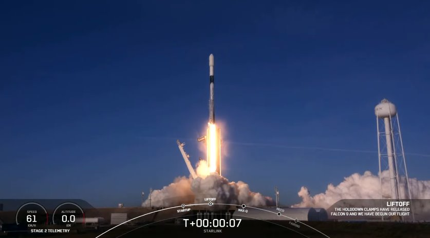 Старт Falcon 9 со спутниками Starlink