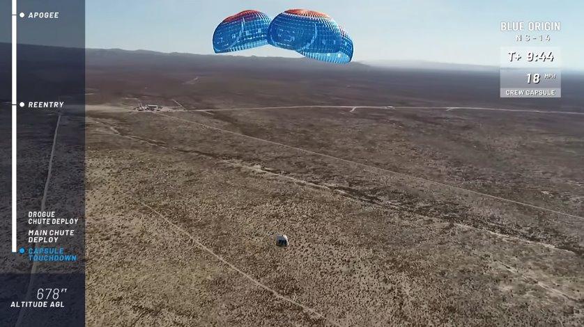 New Shepard crew capsule landing