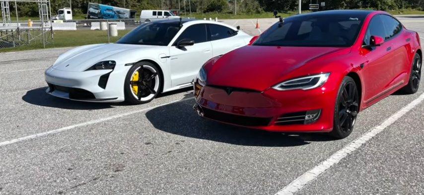 Tesla Model S и Porsche Taycan Turbo S впервые померились силами в дрэг-рейсинге официально (видео)