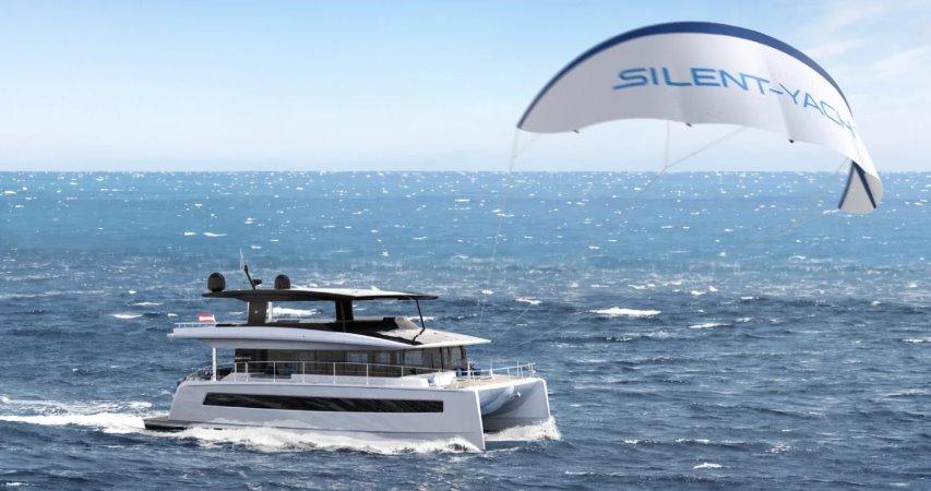 Электрическую яхту Silent Yachts дополнили кайт-парусом