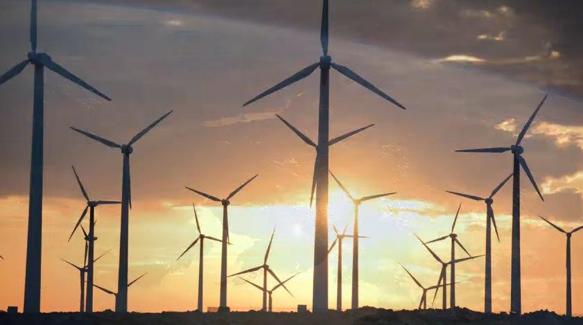 Ветровые турбины на закате солнца