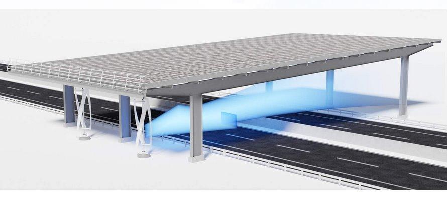 Навесы над автомагистралями будут собирать энергию солнца и ветра одновременно