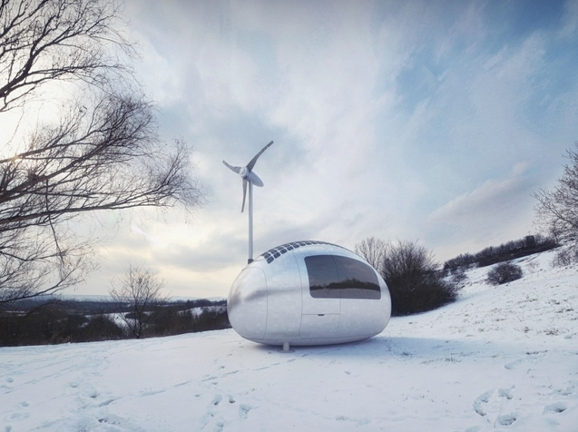 Ecocapsule - зеленый дом с солнечными панелями и ветряком