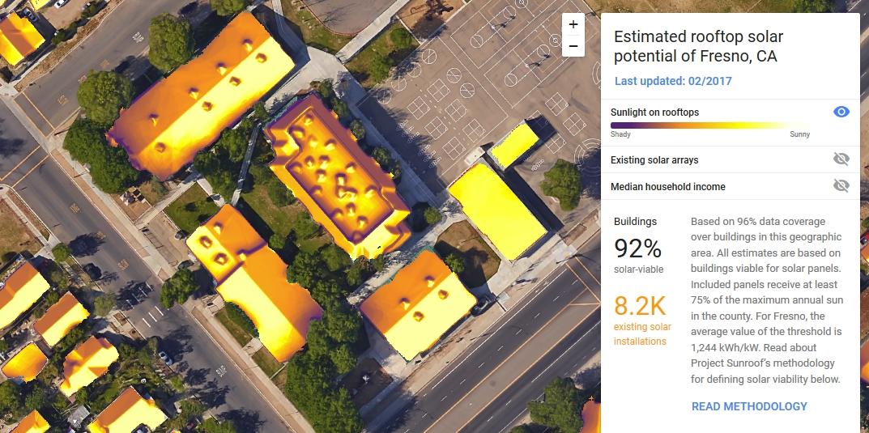 Эффективность работы солнечных панелей определит новая функция сервиса Google Project Sunroof