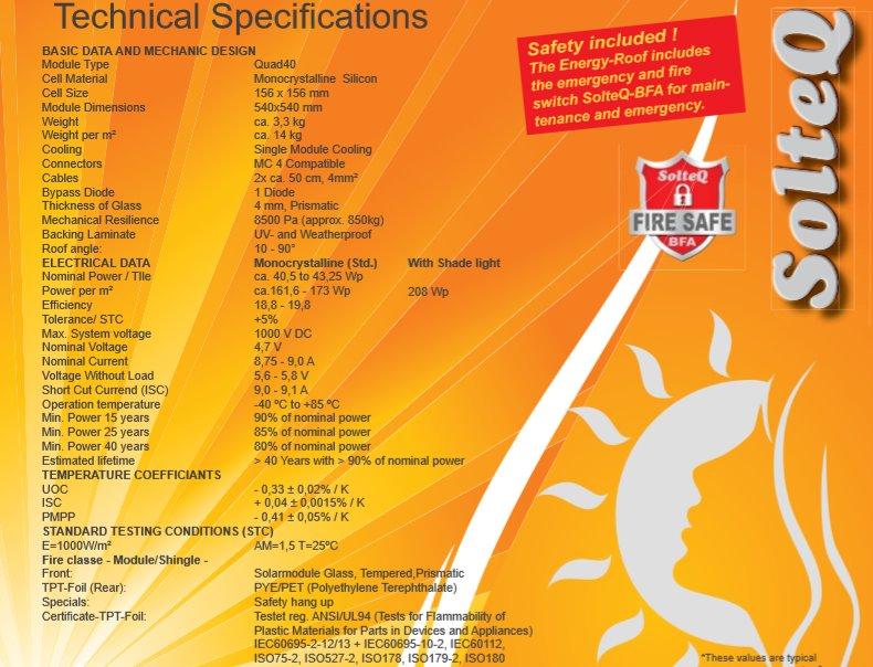 Технические характеристики солнечной черепицы
